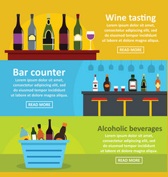 Wine tasting bar banner horizontal set flat style vector