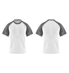 wjote t-shirts with gray or grey sleeve and u-neck vector image