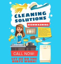woman cleaning dishes in sink with sponge and soap vector image