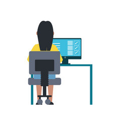 woman working with computer vector image