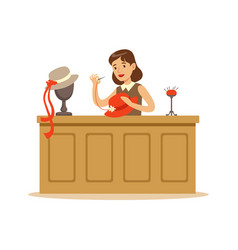 young woman making hats craft hobby or profession vector image