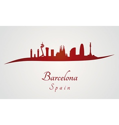 Barcelona skyline in red and gray background vector image