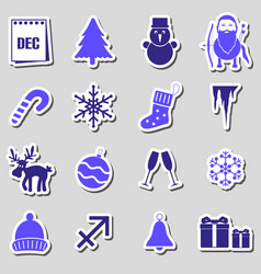 december month theme set of simple stickers eps10 vector image