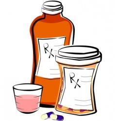 Liquid medicine and pills vector
