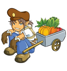 Merchant Selling Vegetables vector image vector image