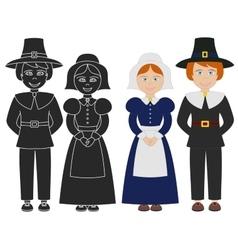 Pilgrim boy and girl vector image