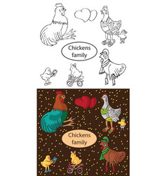 fashionable family chickens and cock vector image