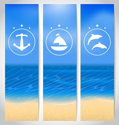 Set labels with beach summer cards vector image vector image