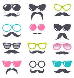 cartoon retro sunglasses and mustache vector image