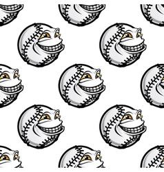 Funny cartoon baseball ball pattern vector image vector image