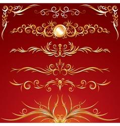 golden ornamental elements vector image vector image