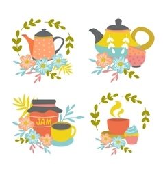 Hand Drawn Tea Time Compositions vector image vector image