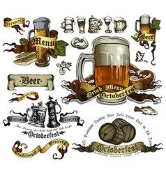set of beer elements vector image