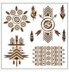 Set ornaments feathers arrow vector image