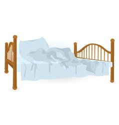 Unmade bed isolated vector image