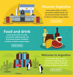 argentina travel banner horizontal set flat style vector image vector image