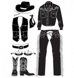 Cowboy clothes and elements vector