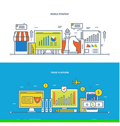 finance trade platform and commercial analysis vector image