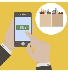 Hand holing smart phone vector
