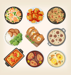 homemade dinner dishes vector image vector image