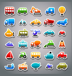 transportation sticker icons vector image vector image