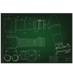 3d model of the camera on a green drawing vector