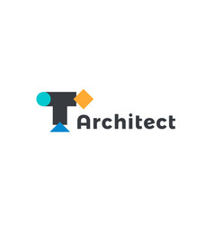 abstract architect icon geometric shapes letter t vector image