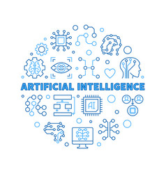 Artificial intelligence blue outline round vector
