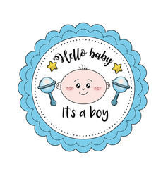 Baby shower emblem to welcome a boy vector