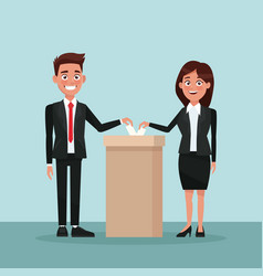 Background scene couple in formal suit vote in urn vector