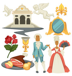 Baroque epoche man and woman in wigs architecture vector