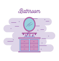 bathroom sink shelf and mirror element vector image