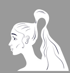Beautiful woman portraite with long wavy hair line vector