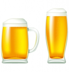 beer in glass and mug vector image