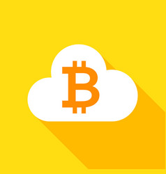bitcoin cloud flat icon vector image