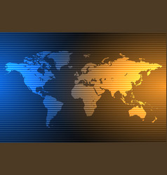 blue and orange global map background with vector image