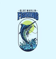 blue marlin fishing t shirt graphic design vector image