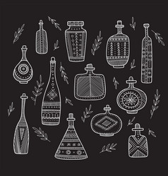 bottles in boho style set vector image