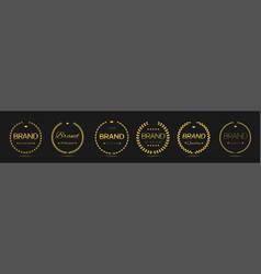 brand year golden laurel wreath label set vector image