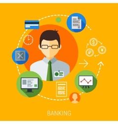 Business management man with flat vector image
