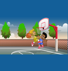 cartoon kids playing basketball on court vector image