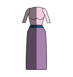 Casual blouse and long skirt cloth vector