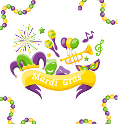 celebration banner with set carnival icons and vector image