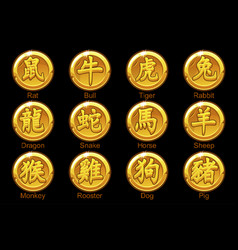 chinese zodiac signs hieroglyphs on gold coins vector image