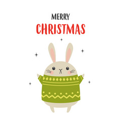 christmas card with cute rabbit isolated on white vector image