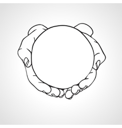 Closeup cupped hands holding a round object vector