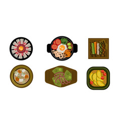 collection of served dishes set cooking healthy vector image