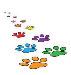 Colorful paw print icon isolated on white vector