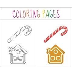 Coloring book page Christmas candy cane and vector image