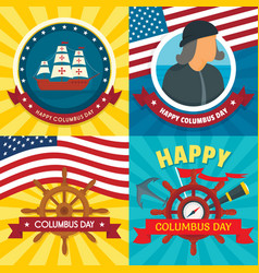 Columbus day banner set flat style vector